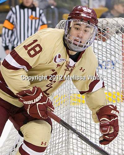 Michael Sit (BC - 18) - The Boston College Eagles defeated the University of Maine Black Bears 4-1 to win the 2012 Hockey East championship on Saturday, March 17, 2012, at TD Garden in Boston, Massachusetts.