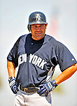 11 March 2009: New York Yankees' outfielder Johnny Damon stands on first base during a Spring Training game against the Detroit Tigers at Joker Marchant Stadium in Lakeland, Florida. The Tigers defeated the Yankees 7-4 in the Grapefruit League matchup. Mandatory Photo Credit: Ed Wolfstein Photo