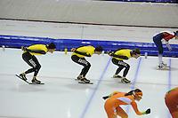 SCHAATSEN: HEERENVEEN: 24-10-2014, IJsstadion Thialf, Topsporttraining Team LottoNL - Jumbo, Wouter olde Heuvel, Sven Kramer, Douwe de Vries, ©foto Martin de Jong