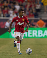 Manchester United FC midfielder Nani (17) looks to pass. In a Herbalife World Football Challenge 2011 friendly match, Manchester United FC defeated the New England Revolution, 4-1, at Gillette Stadium on July 13, 2011.