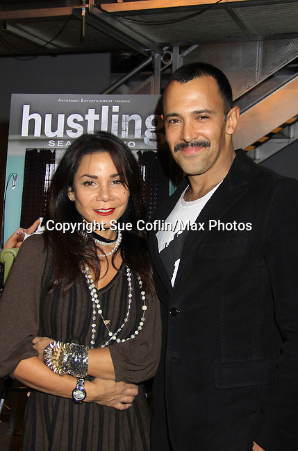 """Smash's Daphne Rubin-Vega poses with Sebastian La Cause - both were in Broadway's Rocky Horrow Show at a private screening of Sebastian La Cause's web series """"Hustling"""" Season Two - 'cause everybody got a hustle -  was held on November 19, 2012 at TriBeca's Cinemas, New York City, New York. Days of our Lives """"Silvio"""", One Live To Live and All My Children's Sebastian is the creator of Hustling along with being the writer, director and star (Photo by Sue Coflin/Max Photos)"""