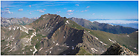 This Colorado panorama features the view of Mount Harvard from the summit of Mount Columbia, two of Colorado's 14ers (14,000 foot peaks). My lifelong friend and I were on the trail at 4:00am and reach the summit after a grunt up loose rock and scree about 8:00am. We'd climbed Harvard the year before, so we had no desire to make the traverse between these two 14ers, but some folks do make that trek. The weather was nearly perfect and this was a satsifying accomplishment.