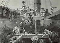 Boarding of slaves on a slave ship, facsimile of a 19th century engraving from the Archives Departementales de la Gironde, in the Musee d'Aquitaine, Cours Pasteur, Bordeaux, Aquitaine, France. A slave is winched down to the slave deck, where others are bound in crouching positions. Picture by Manuel Cohen