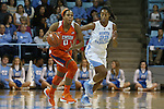 03 January 2016: Clemson's Nelly Perry (0) and North Carolina's N'Dea Bryant (22). The University of North Carolina Tar Heels hosted the Clemson University Tigers at Carmichael Arena in Chapel Hill, North Carolina in a 2015-16 NCAA Division I Women's Basketball game. UNC won the game 72-56.