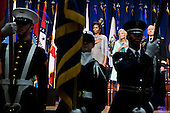 First Lady Michelle Obama, Dr. Jill Biden, and General Martin Dempsey, Chairman of the Joint Chiefs of Staff, stand for the national anthem at the Pentagon in Arlington, Virginia, February 15, 2012. During the event a report was unveiled outlining opportunities and best practices for states to better support military spouses serving in professions with state licensure requirements..Mandatory Credit: Chuck Kennedy - White House via CNP