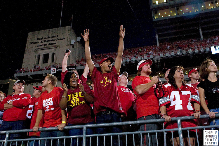 12 September 2009:  Football -- USC fans cheer a first quarter interception of Ohio State quarterback Terrelle Pryor during their game at Ohio Stadium in Columbus.  USC won 18-15.  Photo by Christopher McGuire.