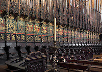 Choir stalls pictured on February 8, 2011 in the Cathedral of the Holy Cross and Saint Eulalia, 1298 - 1450, in Barcelona, Catalonia, Spain. Picture by Manuel Cohen