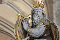 Statue of King David with his harp, 1627 by Nicolas Blasset, 1600-59, French sculptor, donated by Antoine Pingre, in the Chapel of Notre-Dame du Pilier Rouge or Notre Dame du Puy, in the South transept of the Basilique Cathedrale Notre-Dame d'Amiens or Cathedral Basilica of Our Lady of Amiens, built 1220-70 in Gothic style, Amiens, Picardy, France. Statues of David, Solomon et Judith by Blasset surround the altarpiece of the chapel. Amiens Cathedral was listed as a UNESCO World Heritage Site in 1981. Picture by Manuel Cohen