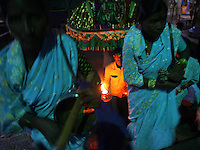 A group of Devadasi women worship the goddess, Yellamma, at a temple in Maharashtra, India.