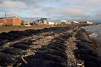 Tuktoyaktuk, NWT, Northwest Territories, Arctic Canada - Sandbags along Shore to prevent Erosion of Coast from Beaufort Sea