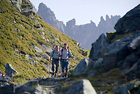 Neustift im Stubaital, Stubaier Hohenweg, Tirol, Austria, September 2008. From the Starkenburger Hutte we hike to the Franz Senn Hut following the contours of the landscape.  Hiking the Stubai High Trail from hut to hut in the southern Alps, we clear a mountain pass on a daily basis. Photo by Frits Meyst/Adventure4ever.com.