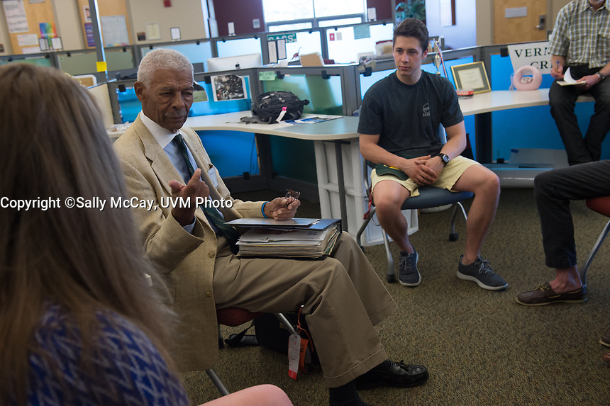 Alumna Bill Pickens talks with students at the SGA office.<br />