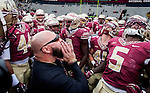 Commissioned by the Associated Press<br /> <br /> Florida State strength and conditioning coach Vic Viloria, center, fires up the Seminoles prior to an NCAA college football game against Boston College in Tallahassee, Fla., Saturday, Nov. 22, 2014. (AP Photo/Mark Wallheiser)