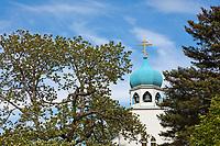 Historic Russian Orthodox church located in downtown Kodiak, on Kodiak Island, Alaska.