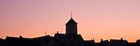 Silhouette of Turm tower and city skyline, Regensburg, Bavaria, Germany
