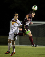The Winthrop University Eagles played the College of Charleston Cougars at Eagles Field in Rock Hill, SC.  College of Charleston broke the 1-1 tie with a goal in the 88th minute to win 2-1.  Ike Crook (11), Patrick Barnes (w11)