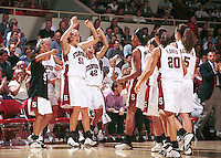 STANFORD, CA - NOVEMBER 1: Cori Enghusen and the Stanford Cardinal team during an exhibition game against the USA Team on November 1, 1999 at Maples Pavilion in Stanford, California.