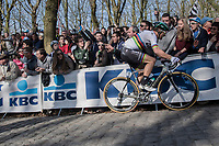 World Champion Peter Sagan (SVK/Bora-Hansgrohe) up the Kemmelberg<br /> <br /> 79th Gent-Wevelgem 2017 (1.UWT)<br /> 1day race: Deinze &rsaquo; Wevelgem - BEL (249km)