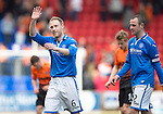 St Johnstone v Dundee United...19.04.14    SPFL<br /> Steven Anderson waves to the crowd at full time<br /> Picture by Graeme Hart.<br /> Copyright Perthshire Picture Agency<br /> Tel: 01738 623350  Mobile: 07990 594431