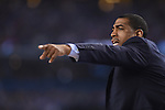 07 April 2014: Coach Kevin Ollie of the University of Connecticut coaches against the University of Kentucky during the 2014 NCAA Men's DI Basketball Final Four Championship at AT&T Stadium in Arlington, TX. Connecticut defeated Kentucky 60-54 to win the national title. Peter Lockley/NCAA Photos