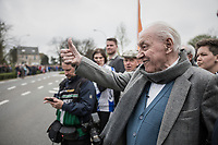 Tom Boonen's (BEL/Quick-Step Floors) grandad came outside of his nursing home (next to the official start of the race) to cheer his grandson on in his last ever (farewell) race on Belgian soil<br /> <br /> 105th Scheldeprijs 2017 (1.HC)<br /> 1 Day Race: Mol &rsaquo; Schoten (BEL/202km)