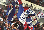 Rangers fans at the last home match of the 96-97 season endure a 2-0 defeat to Motherwell but go on in two days time to clinch nine in a row at Dundee Utd.