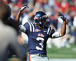 Ole Miss running back Jeff Scott (3) celebrates the Rebels' win at Vaught-Hemingway Stadium in Oxford, Miss. on Saturday, October 2, 2010. Ole Miss won 42-35 to improve to 3-2..