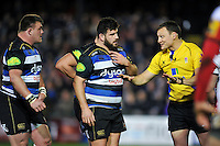 Referee Matt Carley has a word with David Wilson and Rob Webber of Bath Rugby. Aviva Premiership match, between Bath Rugby and Gloucester Rugby on February 5, 2016 at the Recreation Ground in Bath, England. Photo by: Patrick Khachfe / Onside Images