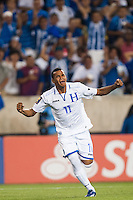 Honduras midfielder Rony Martinez (11) celebrates scoring during a CONCACAF Gold Cup group B match at Red Bull Arena in Harrison, NJ, on July 8, 2013.