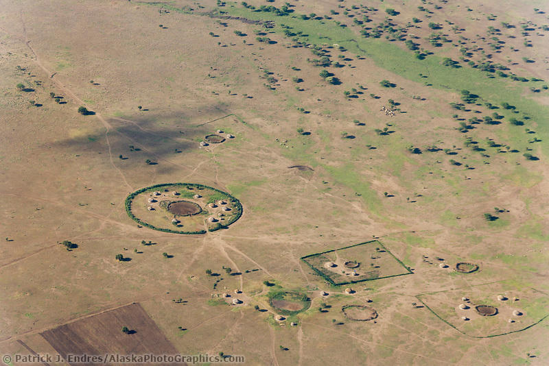 Aerial view of Masai villages, Tanzania, East Africa