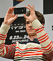 Andrew Garfield, Jun 13, 2012 : Tokyo, Japan - Andrew Garfield snaps shots with his iPhone during a news conference in Tokyo on Wednesday, June 13, 2012. The American film star was in town along with director Marc Webb, actress Emma Stone and actor Rhys Ifans to promote a June 23 world premiere of The Amazing Spider-Man.  (Photo by Natsuki Sakai/AFLO)