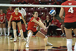 30 September 2006: Redbird Maneola Vieira DaCunha sets a serve to the front line. The Drake Bulldogs opened the match with a decisive win in the 1st game, but struggled in the next 3.  The Illinois State Redbirds took the match 3 games to 1.The match took place at Redbird Arena on the campus of Illinois State University in Normal Illinois.