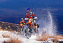 Yoshio-san rides a KTM 400 EXC motorcycle at the foot of Mount Fuji (Japan) on November 2001. (Photo credit Laurent Benchana/Nippon News)