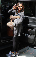 NEW YORK, NY - JULY  25:   Eva Longoria seen leaving The Crosby Hotel clutching a strategically placed pillow following a press junket for the Eva Longoria Collection for The Limited in New York, New York on July 25, 2016.  Photo Credit: Rainmaker Photo/MediaPunch
