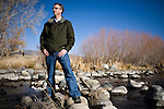 Michael Cameron, Truckee River Project Director for The Nature Conservancy in Nevada poses for a portrait on a restored section of the Truckee River on the McCarran ranch in Mustang, NV, December 2, 2009.