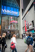 Viacom headquarters in Times Square in New York on Friday, April 10, 2015. The media conglomerate announced plans to restructure three of its networks and institute workforce reductions. Viacom owns MTV, Comedy Central, paramount and a host of other entertainment companies. (© Richard B. Levine)