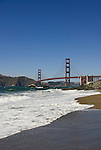 San Francisco: Baker Beach with Golden Gate Bridge in background.  Photo # 2-casanf83362.  Photo copyright Lee Foster