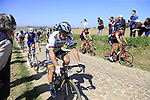 The peloton including World Champion Peter Sagan (SVK) Bora-Hansgrohe on pave sector 25 Briastre a Solesmes during the 115th edition of the Paris-Roubaix 2017 race running 257km Compiegne to Roubaix, France. 9th April 2017.<br /> Picture: Eoin Clarke | Cyclefile<br /> <br /> <br /> All photos usage must carry mandatory copyright credit (&copy; Cyclefile | Eoin Clarke)