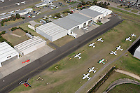 Aerial view of domestic airport hangers and aircraft.<br /> <br /> Larger JPEG + TIFF images available by contacting use through our contact page at :..www.photography4business.com