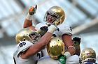 Sep 1, 2012; Tyler Eifert (80) celebrates after a second quarter touchdown against the Navy Midshipmen at Aviva Stadium. ..Photo by Matt Cashore/University of Notre Dame
