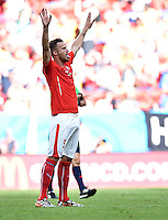FUSSBALL WM 2014  VORRUNDE    Gruppe D     Schweiz - Ecuador                      15.06.2014 Siegerjubel: Haris Seferovic (Schweiz)