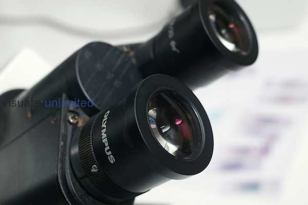 Close up of the eyepiece on a microscope. Royalty Free