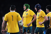 Adam Coleman of Australia looks on during a break in play. The Rugby Championship match between Argentina and Australia on October 8, 2016 at Twickenham Stadium in London, England. Photo by: Patrick Khachfe / Onside Images