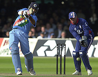 .29/06/2002.Sport - Cricket - .NatWest triangler Series England - Sri Lanka - India.England vs india 50 overs.  Lord's ground.Yuvraj Singh and wicket keeper Alex Stewart..