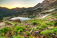 Cecret Lake sunrise in the Wasatch Mountains.