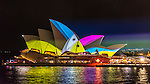 Sydney Opera House during Vivid Light Festival, Sydney, NSW, Australia