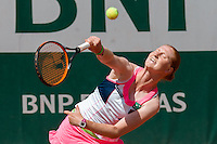June 3, 2015: Alison Van Uytvanck of Belgium in action in a Quarterfinal match against Timea Bacsinszky of Switzerland on day eleven of the 2015 French Open tennis tournament at Roland Garros in Paris, France. Bacsinszky won 64 75. Sydney Low/AsteriskImages