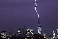 Lightning from a heavy thunderstorm over Manhattan strikes One World Trade Center 6 times over a period of 1 hour.