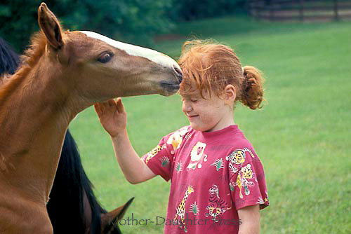 """Foal """"kisses"""" young girl on her head, Midwest USA"""
