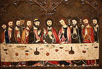 Gothic painted Altarpiece of the Corpus Christi by Master of Vallbona de les Monges possibly Guillem Seguer. Tempera, stucco reliefs, gold leaf and varnished metal plate on wood. Circa 1335-1345. 108.8 x 222 x 8.7 cm. From the chapel of Corpus Christi in the church of the monastery of Santa Maria de Vallbona de les Monges (Urgell).  National Museum of Catalan Art, inv no: 009920-000